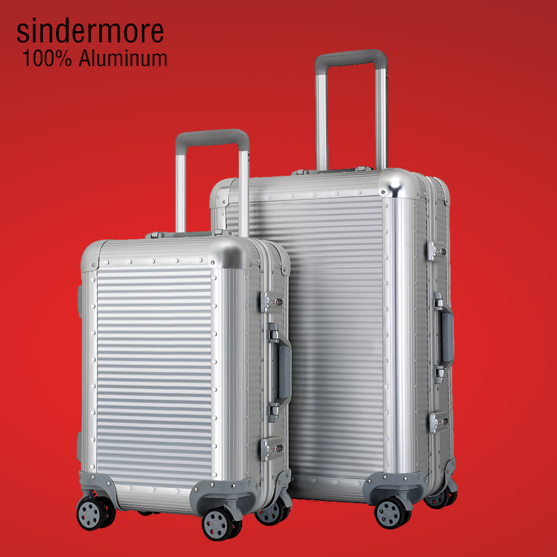 Sindermore 100% All Aluminum Luggage Hardside Rolling Trolley Luggage travel Suitcase 20 Carry on Luggage 24 26 Checked Luggage vintage suitcase 20 26 pu leather travel suitcase scratch resistant rolling luggage bags suitcase with tsa lock