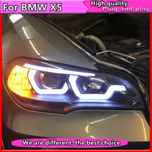 Car Styling for BMW X5 e70 2007-2013 Headlight for BMW X5 Head Lamp Auto LED DRL  Double Beam H7 HID Xenon bi xenon lens цена в Москве и Питере