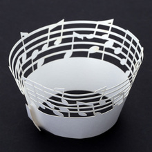 50 PCS Laser Cut Delicate Carved Music Notes Cupcake Wrappers Beautiful Cup Cake Topper for Party Birthday Wedding Reception