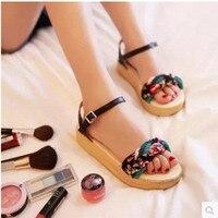 Ladies Fashion Floral Printed Plus Size US11 12 Ankle Wrap Buckle Strap Weaving Flip Flops Platform