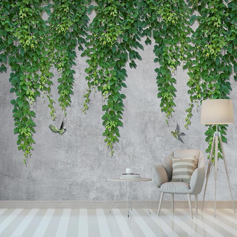 Custom 3D Photo Wallpaper Green Vine Tree Leaf Bird Modern Living Room Bedroom Study Room Mural Wall Painting Papel De Parede
