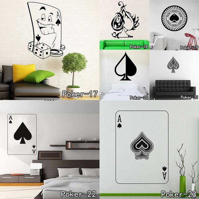 Autocollant mural de Poker Pro cartes Spade Club | Autocollant mural en diamant et cœur pour costume salle de jeu, autocollants décoratifs sous-sol nuit