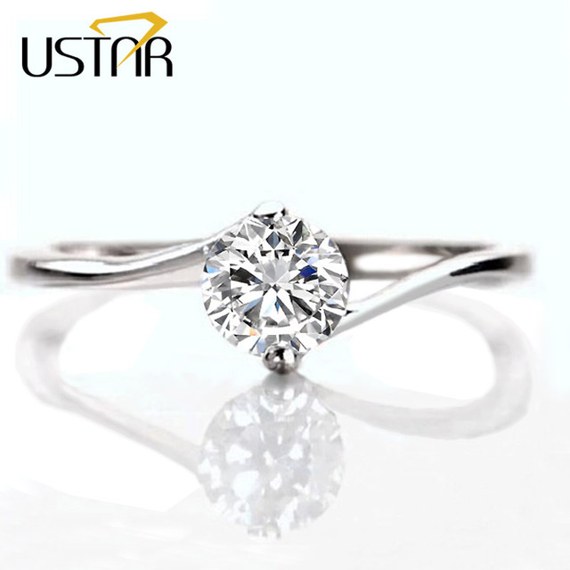 Two Claw 5mm CZ Diamond wedding Rings for women Jewelry silver plated engagement Rings female of Austria Crystal Anel party Gift