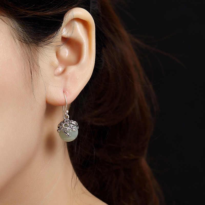 2018 ใหม่เงิน S925 เงินแท้ธรรมชาติ Hetian หยกหยกฝังเก่าผู้หญิงระดับไฮเอนด์ต่างหูต่างหูขายส่ง