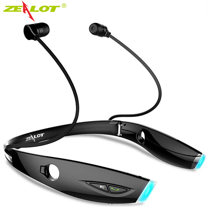 Zealot H1 Bluetooth Sport Headphone Sweatproof Foldable Wireless Headset Fashion Stereo Bluetooth Earphone Neckband with Mic