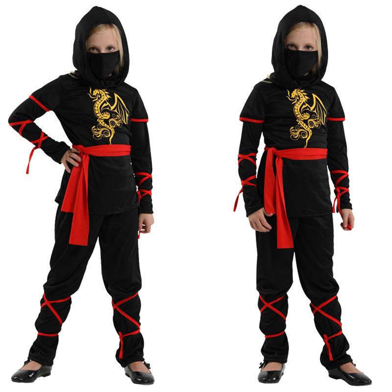 Free shipping New Children Super handsome Girl Kids black ninja warrior costumes Halloween Christmas Day New Year Party Dress Up