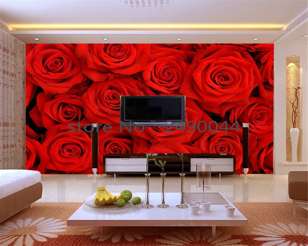 ᗛbeibehang wallpaper big romantic red rose 3 d pictures on the wall