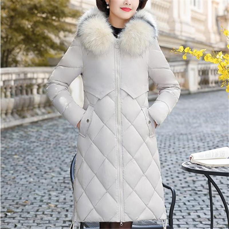 Épais Veste Vêtements Femmes Vers Hiver Manteau Moyen Nouvelle Bas Caramel Long Plus Vestes Colour Haute white Taille La D'âge Coton Femelle red Qualité Le Mama 2018 6ZPqadaw