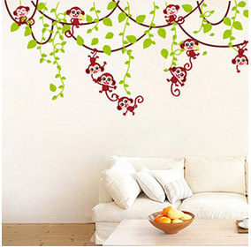 Cute Cartoon Monkey Wall Sticker Children Room Decor Stickers Removable Diy Leaves