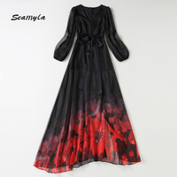 Seamyla Newest 2017 Designer Runway Maxi Dress Women S V Neck Long Sleeves Floral Print Sexy