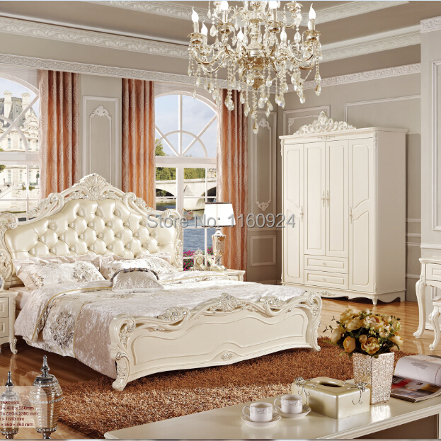 The Most Attractive Wooden White Bed Room Furniture Set Wardrobe Beside Table Dresser And Dressing Stool