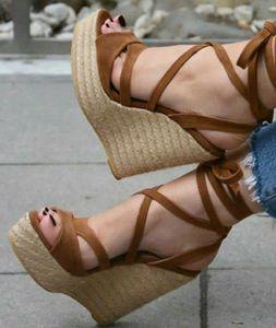 Женские сандалии на танкетке Moraima Snc, летние сандалии-гладиаторы на шнурках с открытым носком и плетеной шнуровкой, Клубные Туфли на каблуке