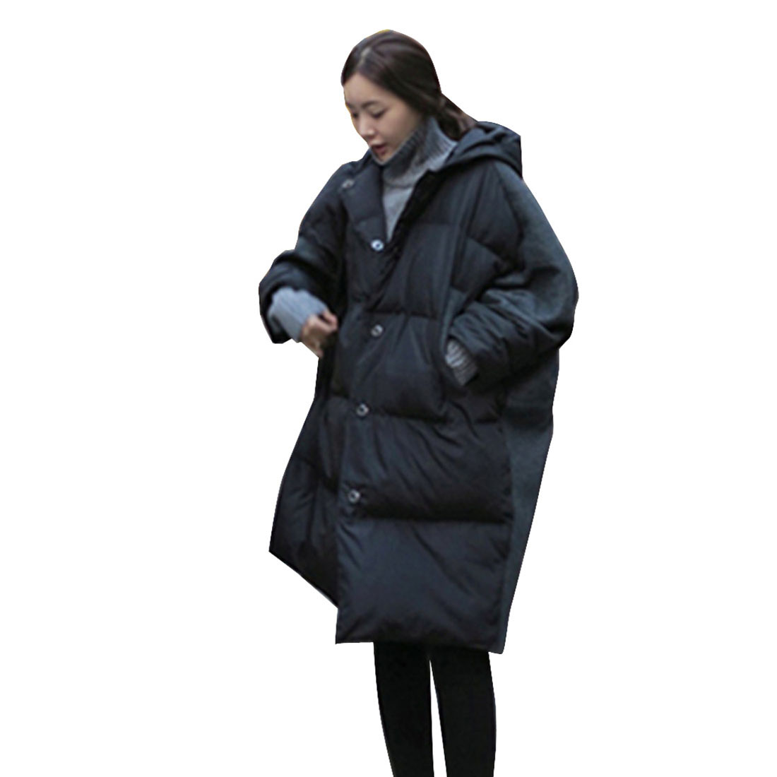 Winter Women Long Sleeves Black Warm Overcoat Female Autumn Eiderdown cotton Loose Coats lady Fashion Outwear