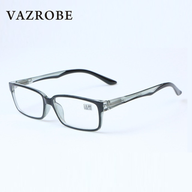 7e9a34fe18 Vazrobe Square Reading Glasses Men Woman +100 +125 175 225 275 325 375 +200  Female Grade Points Ultra-light TR90 Eyewear Reader