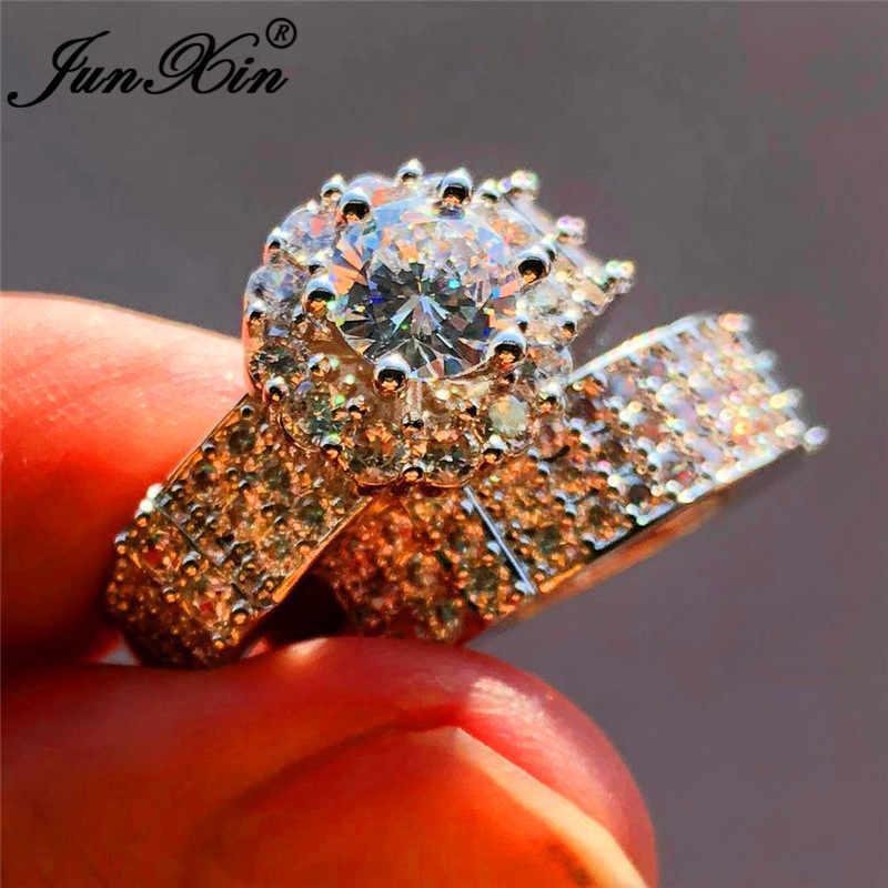 JUNXIN หญิง OL คริสตัลเจ้าสาวหมั้นแหวน 925 เงินรอบสีขาว Zircon สัญญางานแต่งงานแหวนผู้หญิง