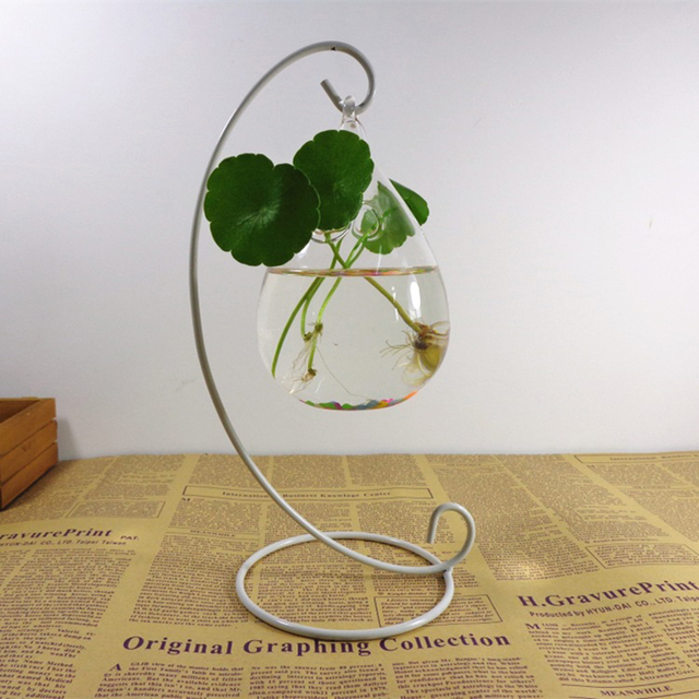 1PC Hanging Holder Crystal Terrarium Container Without Glass Ball Vase Pot Iron Stand Holder Decoration Home Decor 3