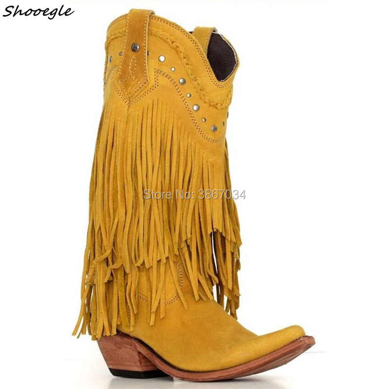 fecc98d5c5 SHOOEGLE Winter Distressed Fringes Boots Women Boho Slip on Cowboy Booties  Tassel Leather Botines Low Heel
