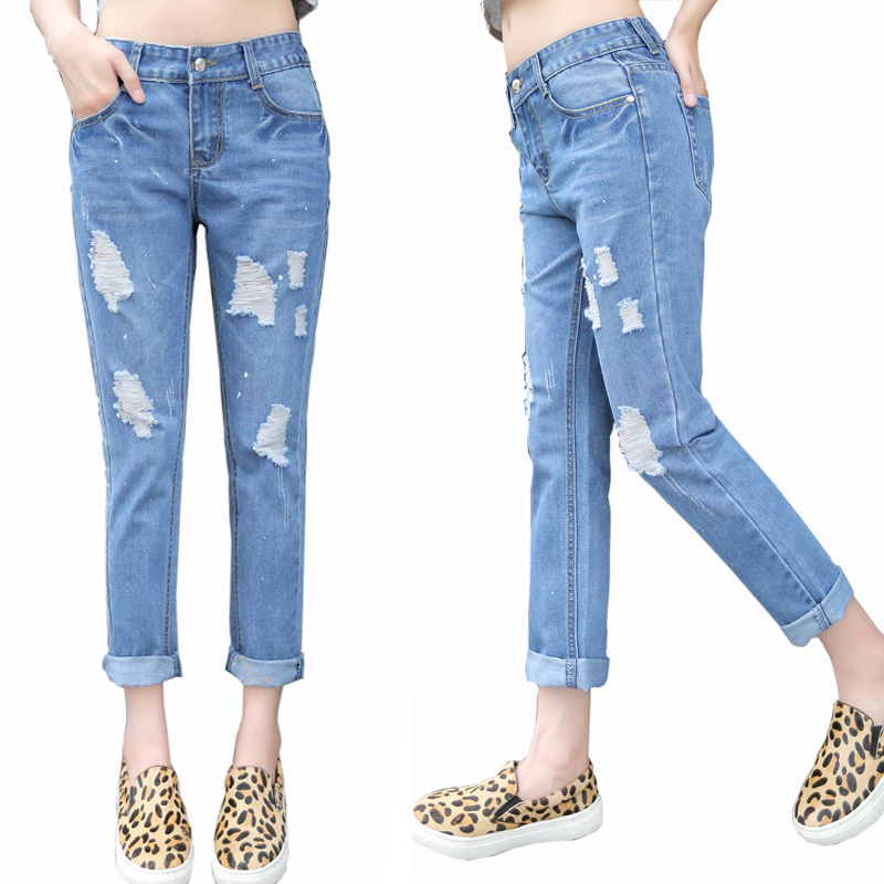 buy ripped ankle cigarette jeans m purplish blue at gearbest chinese goods catalog. Black Bedroom Furniture Sets. Home Design Ideas