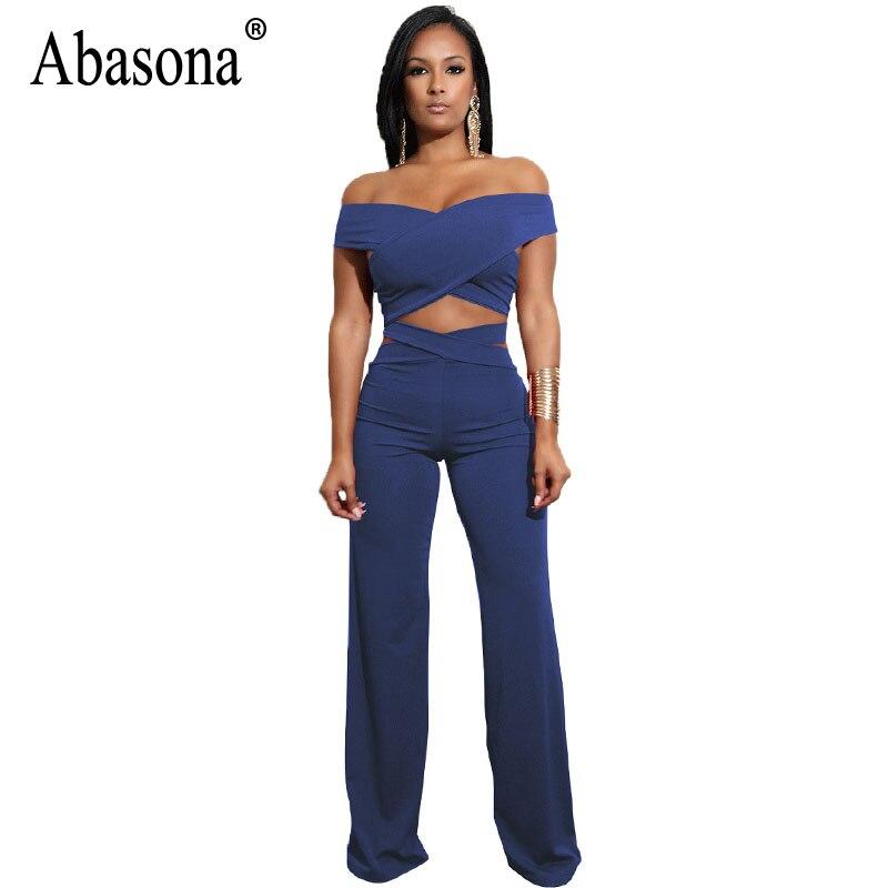 Abasona Wrap Jumpsuits Women Criss Cross Wide Leg Pants Off Shoulder