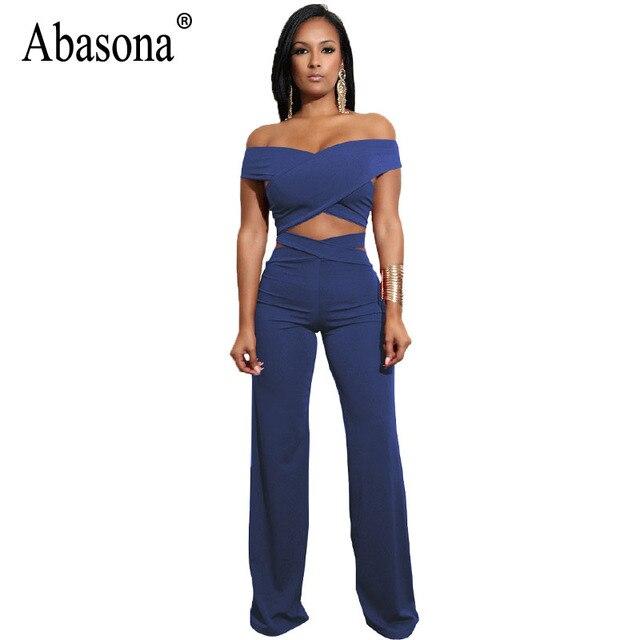 4f18ee893e Abasona Wrap Jumpsuits Women Criss Cross Wide Leg Pants Off Shoulder Bandage  Jumpsuit Rompers Party Club Overalls Two Piece Set