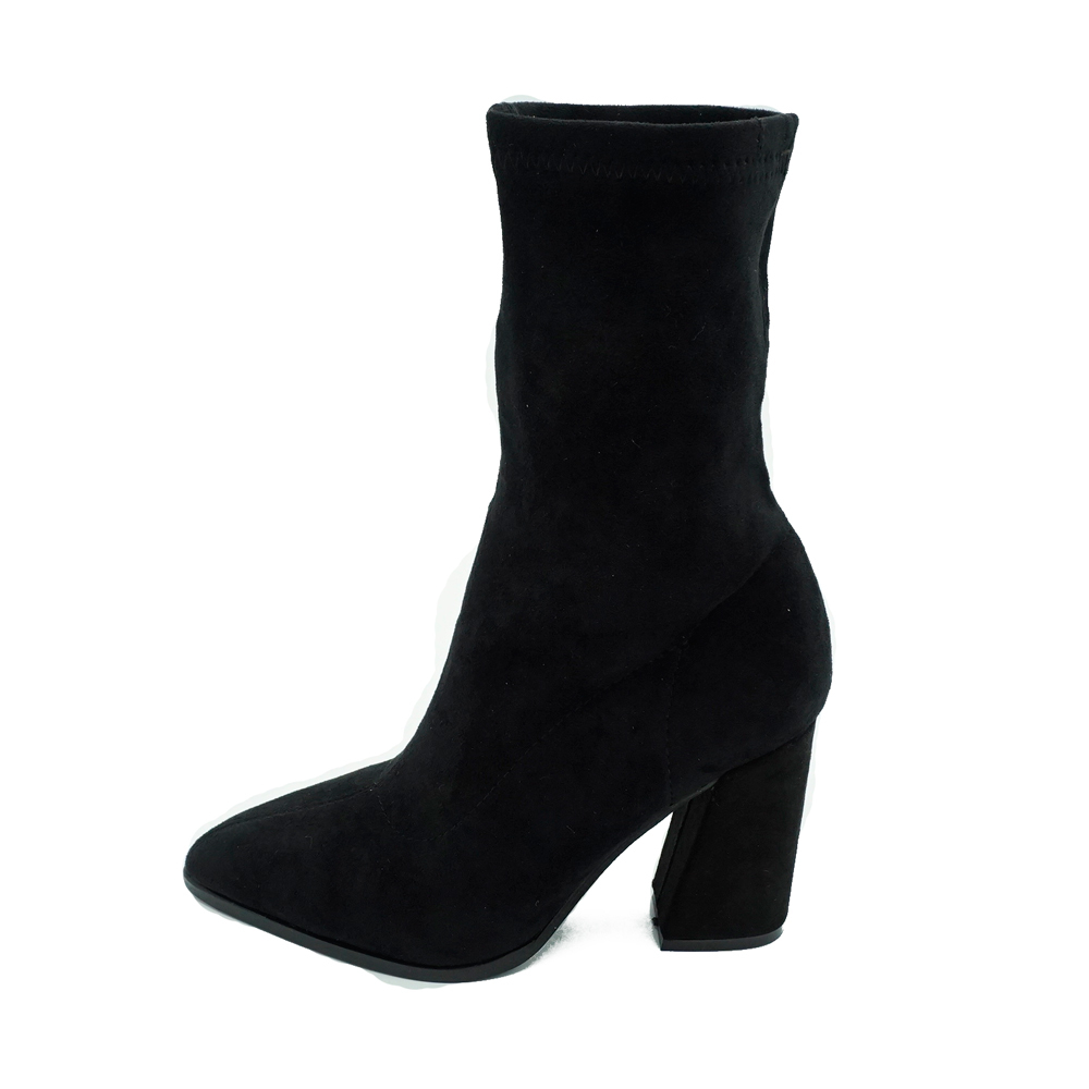 4ebee19848 2017 Women Suede Botties 9 cm High Block Heel Boots Pointed Toe Black Brown  Mid calf Lady Slip On Shoes Chiara Ferragni-in Mid-Calf Boots from Shoes on  ...