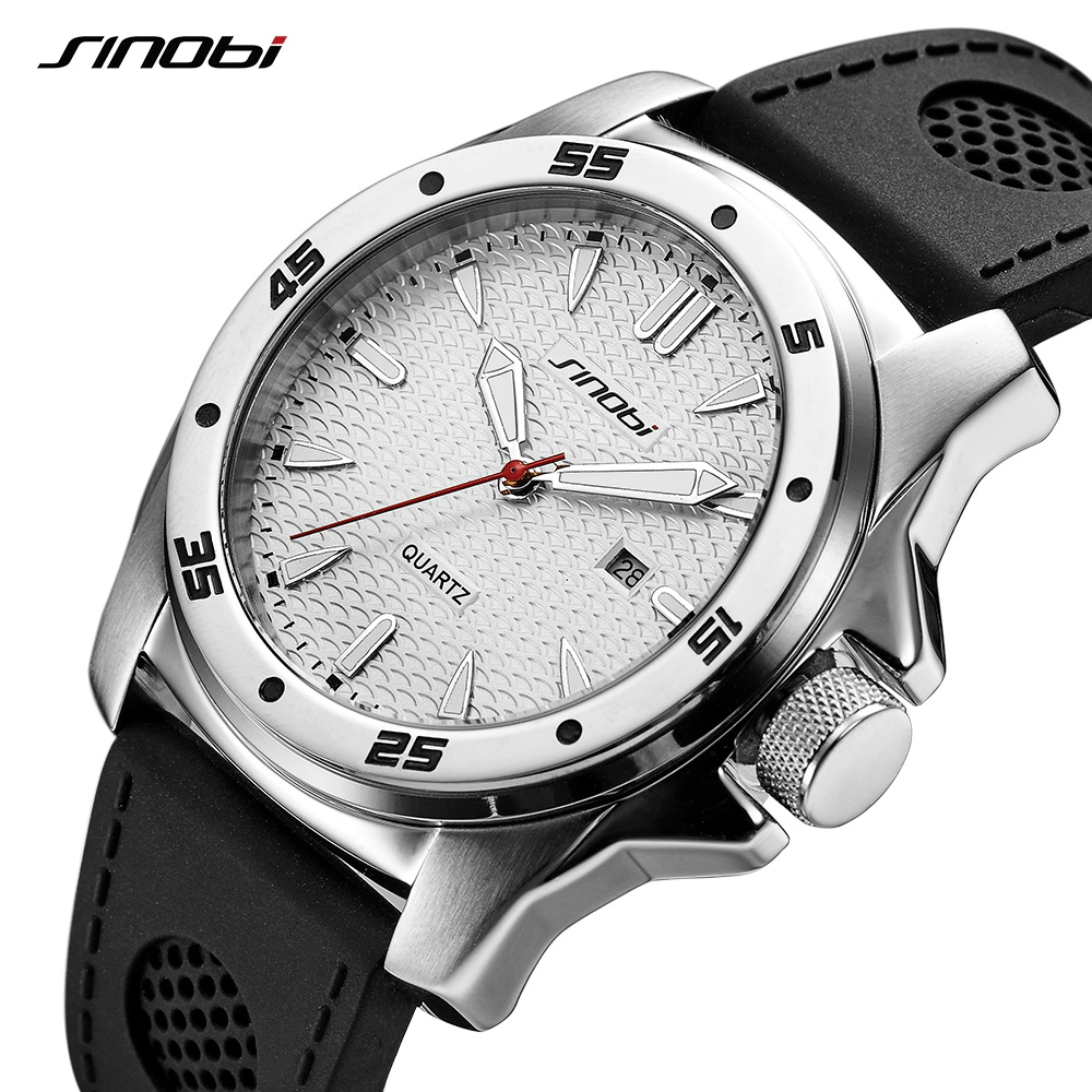 SINOBI Sport Waterproof Watch Men Top Brand Luxury Stainless Steel Relogio Masculino Silicone Band Quartz Geneva Watches Saat