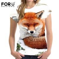 FORUDESIGNS 2018 Summer Women T Shirt 3D Animal Fox Printing T Shirt Ladies Casual T Shirt