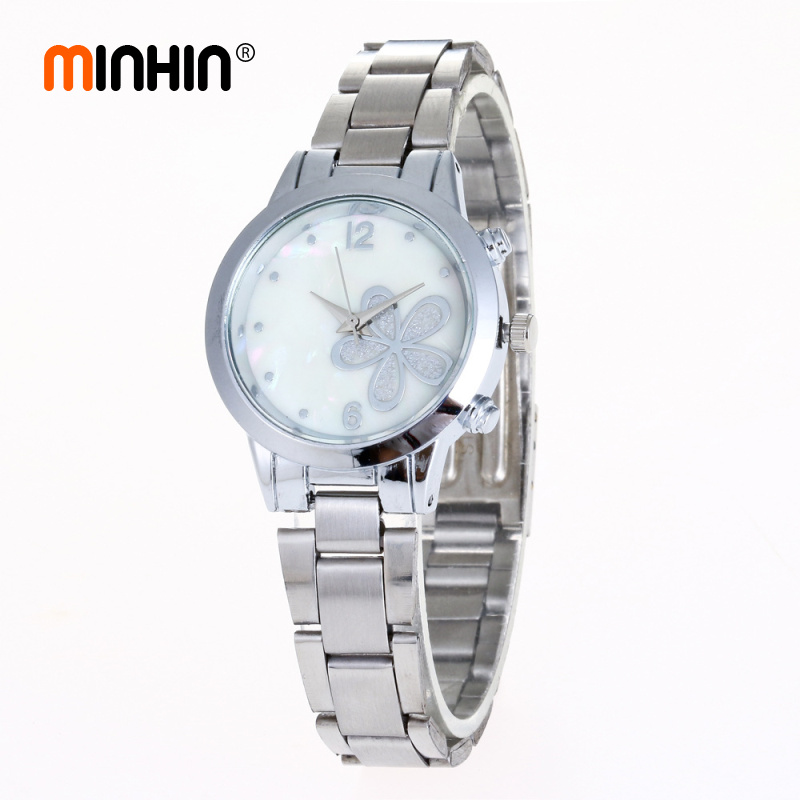 MINHIN Women Charming Watches Shell Pattern Small Dial Steel Watch Gift Flowers Gold/Silver Strap Bracelet Watches