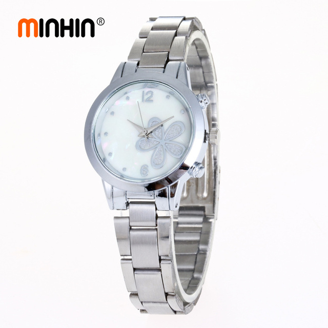 MINHIN Women Charming Watches Shell Pattern Small Dial Steel Watch Gift Flowers