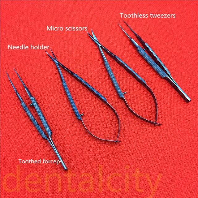 Instrumentos quirúrgicos de tiloy de titanio Instrumentos dentales microquirúrgicos soportes de aguja + tijeras de 11,5 cm + pinzas