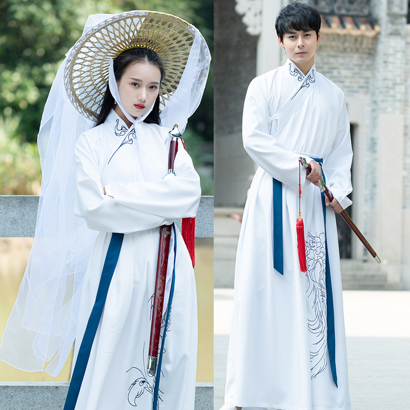 Chinese Hanfu Element romantic Lovers Overcoats Women Classical Suits jacket + Skirt Wei Jin Ming Dynasties Ancient Men costume