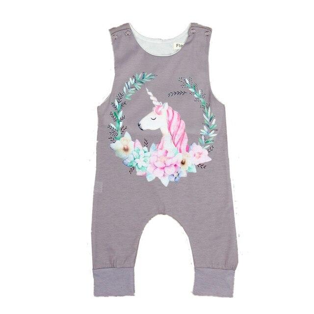 83dae05db54c Baby Girls Unicorn Rompers Newborn Brand Sleeveless Gray Jumpsuit Baby  Girls Summer Clothes Infant Unicorn Romper