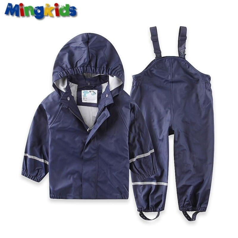 ФОТО Mingkids high quality PU windbreaker rainwear set for boys waterproof suit pants and jacket raincoat European Size
