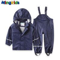 Mingkids High Quality PU Windbreaker Rainwear Set For Boys Waterproof Suit Pants And Jacket Raincoat European