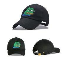 Moda Sad Kermit tapa Rana Pepe se siente mal hombre bordado Sun-shade  hip-hop Snapback gorras de béisbol la triste Meme rana som. 4147ce9d178
