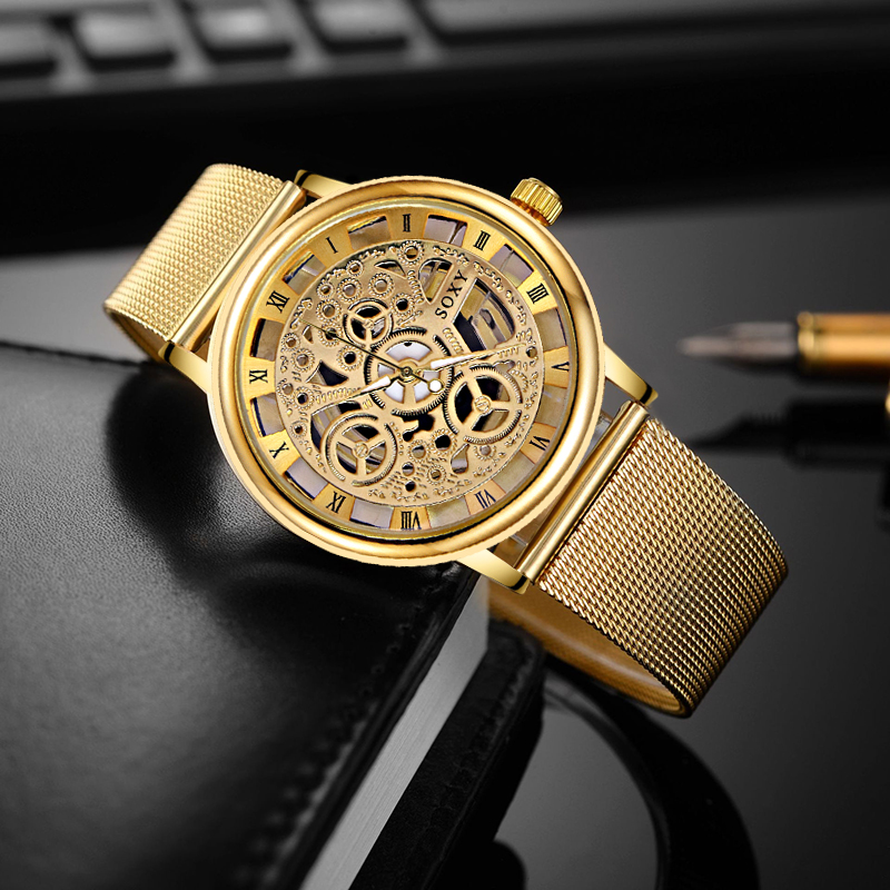 SOXY Luxury Skeleton Watches Men Watch Fashion Gold Wrist Watch Men Steel Mesh Men's Watch Clock relogio masculino reloj hombre