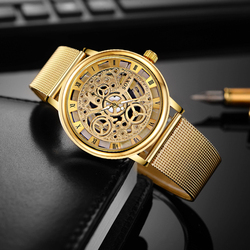 SOXY Luxus Skeleton Uhr Männer Uhr Mode Gold Uhr Männer Edelstahl Uhr herren Uhr reloj hombre relogio masculino