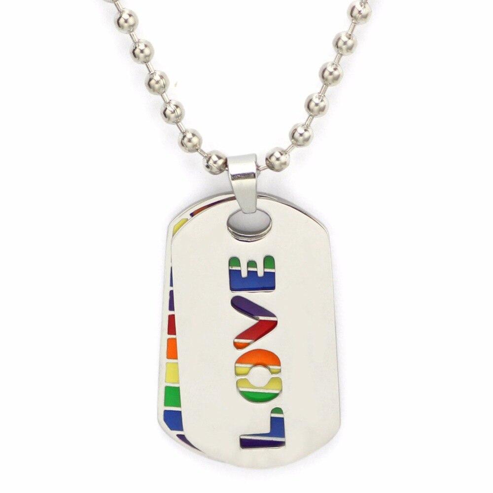 501d4785c515 Doble capa LGBT colgante collar Gay Acero inoxidable ORGULLO AMOR Arco Iris  collares largos joyería ...