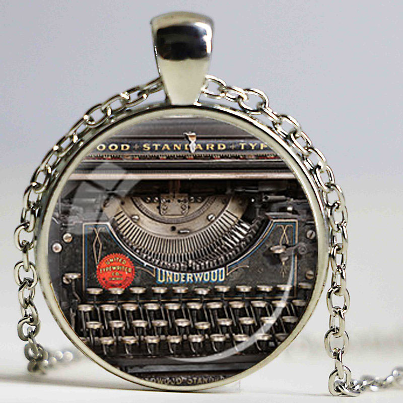 VINTAGE TYPEWRITER PENDANT Writer Gift for Writer Typewriter Jewelry Writers Necklace Black Red Gray Vintage Keyboard Jewelry