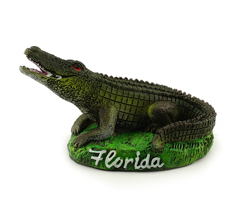 Handmade Painted Florida Crocodile Statue Creative Resin Crafts Tourism Souvenir Gifts Collection Home Decortion