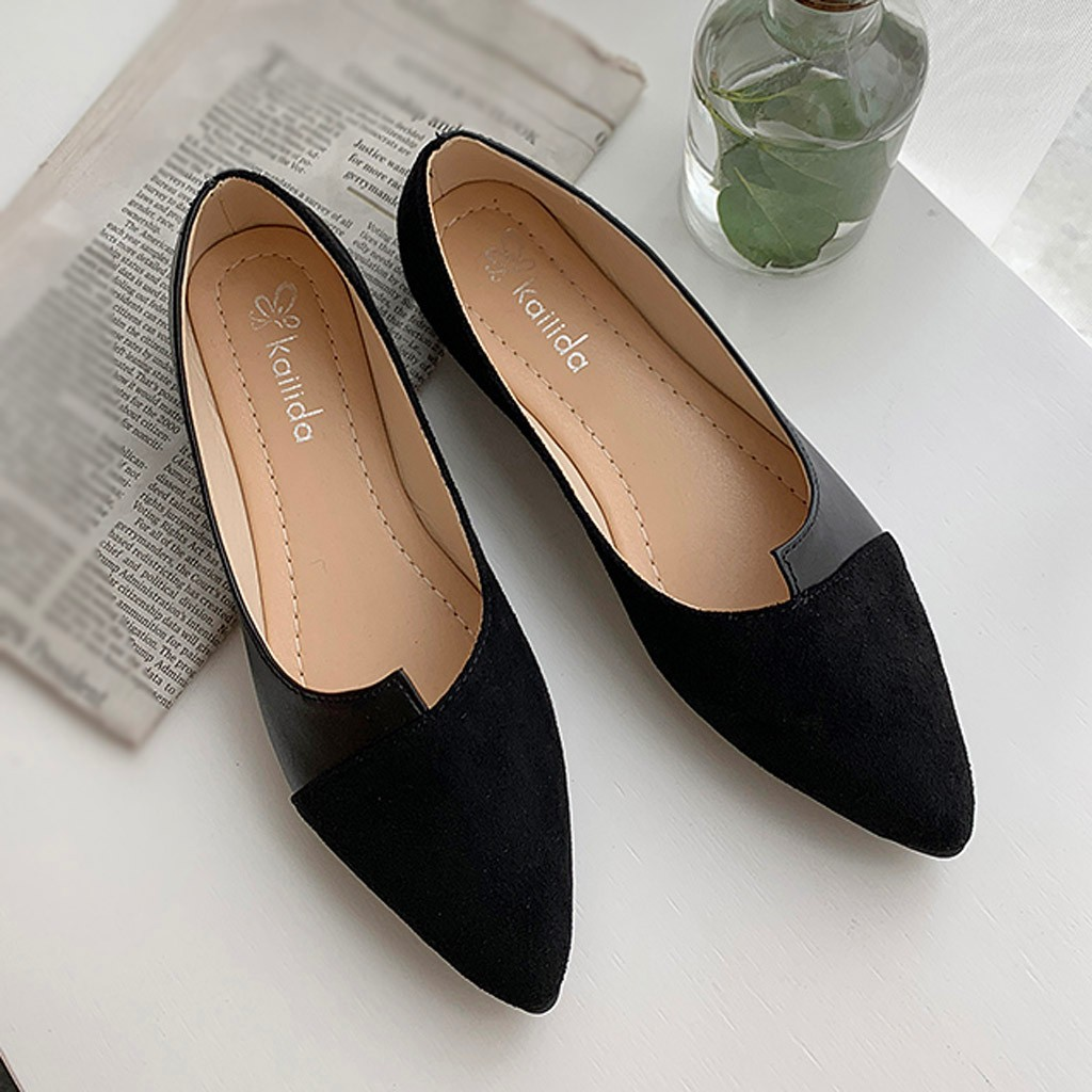 Shoes Woman Flats Fashion Slip-On Ballerina-Ballet Pointed-Toe Color Summer Splice Casual title=