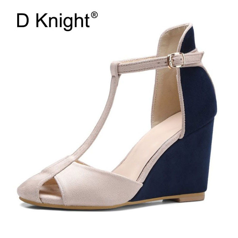 Women Wedges Sandals Fashion Color Block Summer Platform Pumps Shoes Ankle T-Strap Lady Sandals High Heel Closed Toe Women Shoes xiaying smile summer new woman sandals platform women pumps buckle strap high square heel fashion casual flock lady women shoes page 8