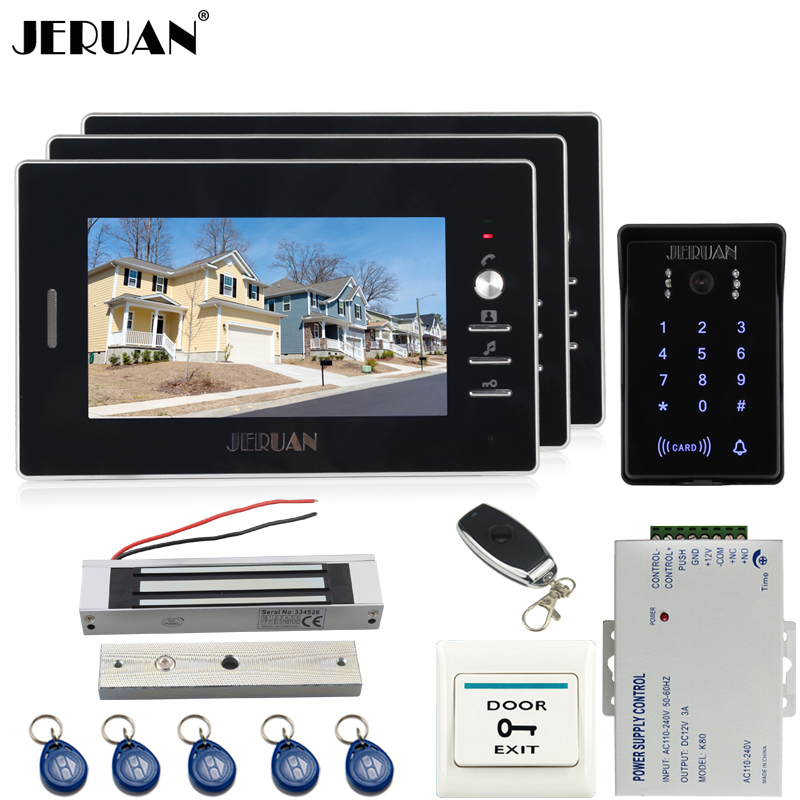 JERUAN Home 7`` TFT screen video door phone intercom system Kit 3 house RFID waterproof touch key password keypad access camera цена