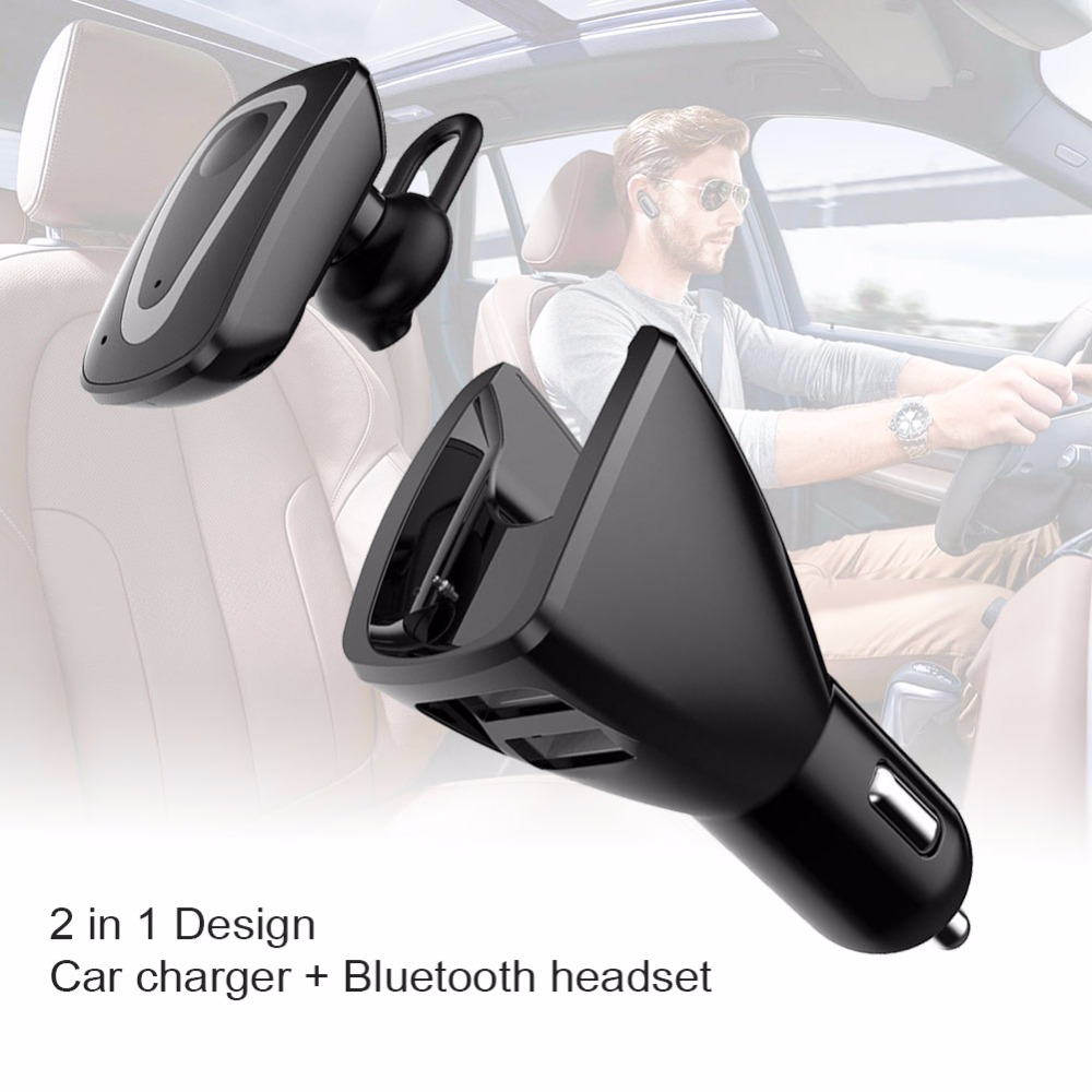 Original Bluetooth Wireless Earphone Car Charger Business Dual USB Dock Headset with Mic Noise canceling Phone Charger 2 in 1 original remax 2in1 mini bluetooth headphones usb car charger dock wireless car headset bluetooth earphone for smartphones
