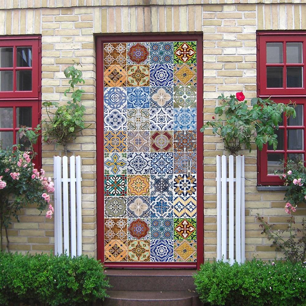 Freeshipping Stickers Portes Decoratives 3d Door Sticker Home Decoration 77cm*200cm Door Wallpaper Mt083 3d Door Sticker