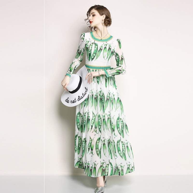 afac8885964d 2018 Spring Summer New Boho Style Long Dress Women O-neck Beach Pea Pod  Printing Vintage Ball Gown Party Dress