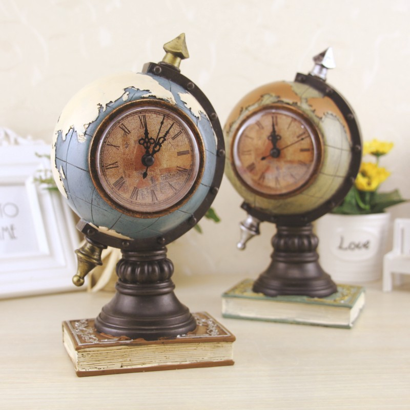 Retro Earth Map Vintage Clock Home Decoration Miniature Vintage Figurines Miniatures Christmas Birthday Gift Craft Figurines in Figurines Miniatures from Home Garden