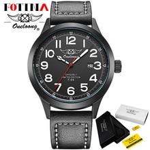 Fotina HK Brand ONELOONG Quartz Watch Men Leather Strap Day Date Men Watch Sports Wristwatch Analog Male Black Relogio Masculino