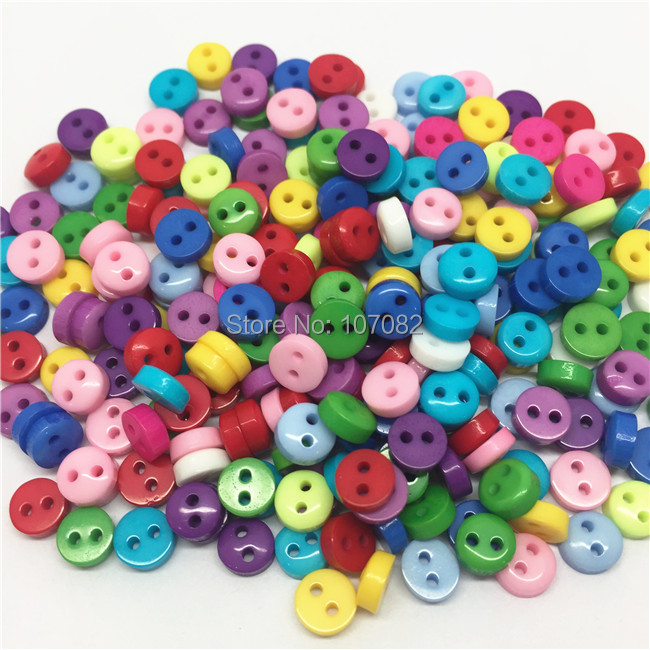 1000Pcs lot Multi 6mm Round Resin Mini Tiny Buttons Sewing Accessories Embellishments BUTTON Scrapbooking in Buttons from Home Garden