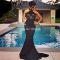 Negro cabestro vestido de baile para graduación atractivo de la sirena Formal mujer de encaje vestido de noche Vestidos de gala 2016 Ballkleider